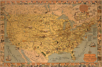 Royalty-Free and Rights-Managed Images - A Pictorial Chart of American Literature - Pictorial Map - North America - Literature by Studio Grafiikka