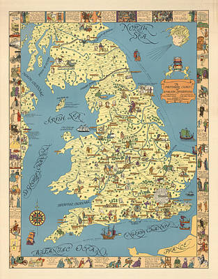 Royalty-Free and Rights-Managed Images - A Pictorial Chart of English Literature - Illustrated Map - Pictorial Map - English Literature by Studio Grafiikka