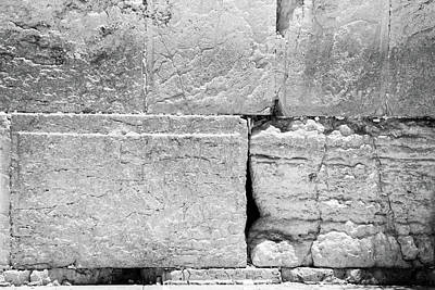 Photograph - A Piece Of The Wailing Wall In Black And White by Yoel Koskas