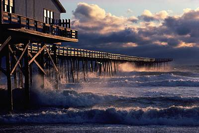 Docks Etc Photograph - A Pier At Nags Head Is Pounded By Early by David Alan Harvey