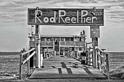 Photograph - A Pier Called The Rod And Reel Bw by HH Photography of Florida
