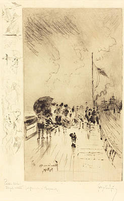 Rain Drawing - A Pier In England by Mountain Dreams