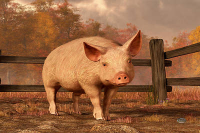 Domestic Animals Digital Art - A Pig In Autumn by Daniel Eskridge