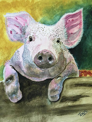 Potbelly Pig Painting - A Pig Named Dean by Temple Bolek