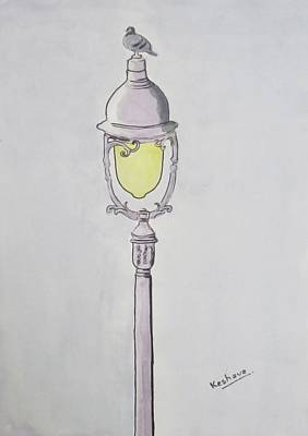 Digital Art - A Pigeon Sat Upon A Lamp Not Trying To Reflect Upon Existence by Keshava Shukla