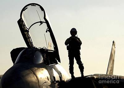 Cockpit Photograph - A Pilot Prepares To Enter His F-14b by Stocktrek Images