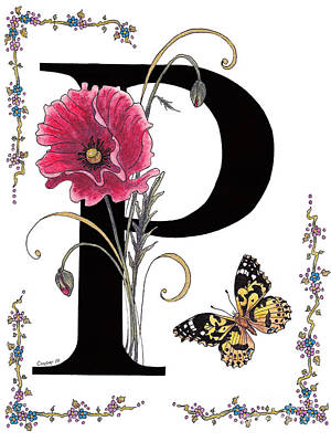 Stanza Mixed Media - A Pink Poppy And A Painted Lady Butterfly by Stanza Widen