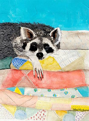 Raccoon Mixed Media - A Place To Sleep by Kathy Ellinghouse