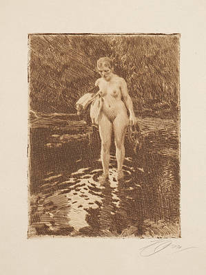 Drawing - A Place To Wade by Anders Zorn