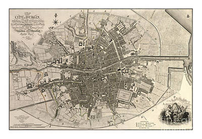Dublin Drawing - A Plan Of The City Of Dublin - 1797 by Pablo Romero