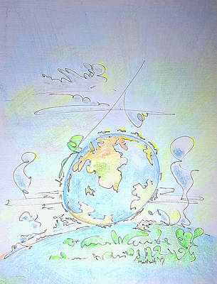Drawing - A Planet Remembered by Dave Martsolf