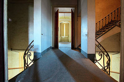 Art Print featuring the photograph A Play Of Light On Ythe Stairway by Dirk Ercken
