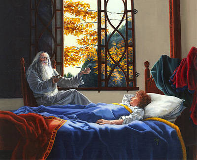 Gandalf Painting - Fellowship Of The Ring - A Pleasant Awakening by Carol Phenix