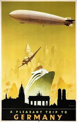 Mixed Media Royalty Free Images - A Pleasant Trip To Germany - Airship, Aircraft, Ship - Retro travel Poster - Vintage Poster Royalty-Free Image by Studio Grafiikka