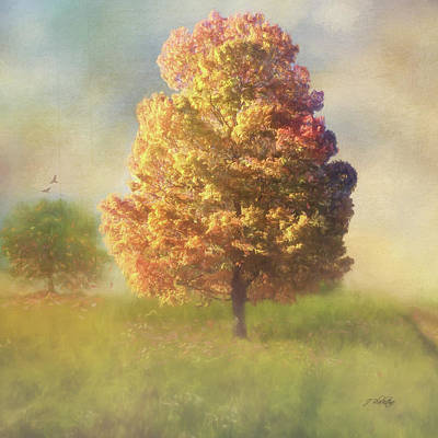 Mystical Landscape Painting - A Poem As Lovely As A Tree - Autumn Art by Jordan Blackstone