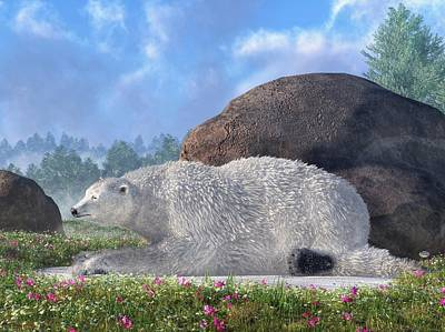 Global Warming Digital Art - A Polar Bear In Spring by Daniel Eskridge