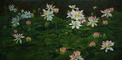 Painting - A Pond Full Of Water Lilies And Youtube Video by Roena King