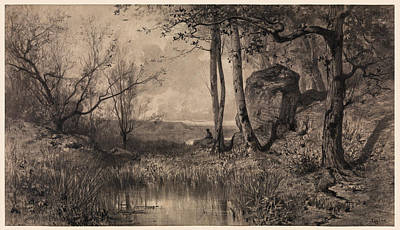 Drawing - A Pond With A Fisherman Along The River Ain by Adolphe Appian
