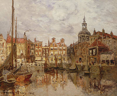 Reflecting Water Painting - A Port by Frank Myers Boggs