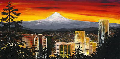 Mt Hood Painting - A Portland City View At Sunset by Amy Provonchee