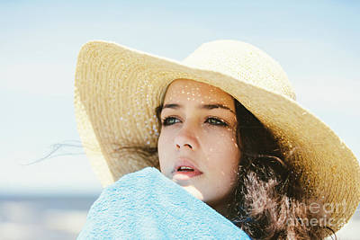 Photograph - A Portrait Of A Young Girl In A Straw Hat. by Michal Bednarek