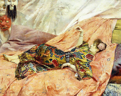 Japanese Silk Painting - A Portrait Of Sarah Bernhardt, Reclining In A Chinese Interior  by Georges Antoine Rochegrosse