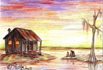 Cypress Swamp Drawing - A Ppeaceful Evening by Ruth Bares