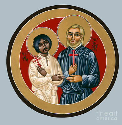 Painting - A Prayer For Unity Holy Martyrs St Peter The Aleut And St Andrew Bobola 072 by William Hart McNichols