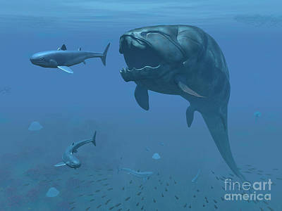 Aquatic Digital Art - A Prehistoric Dunkleosteus Fish by Walter Myers