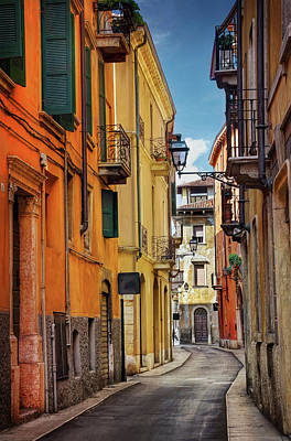 Veneto Photograph - A Pretty Little Street In Verona Italy  by Carol Japp
