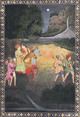 King Painting - A Prince And Princess Riding At Night by Eastern Accents