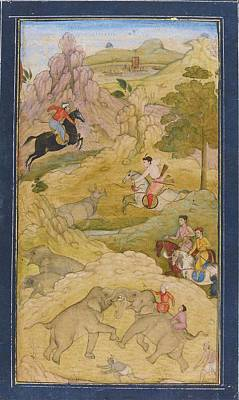 Mughal Painting - A Prince On Horseback Hunting Rhinoceros by Eastern Accents