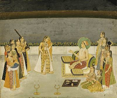 Courtesan Painting - A Prince With A Courtesan And Female Musicians On A Terrace by Celestial Images