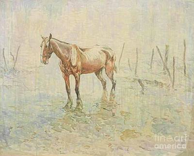 Trench Painting - A Prisoner Of War. War Horses Of World War One by John Edwin Noble
