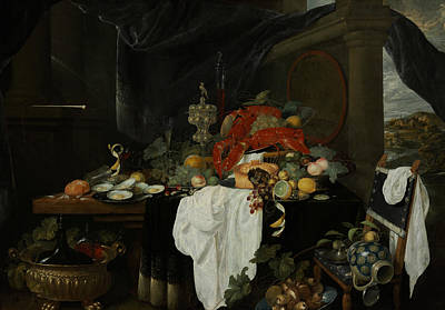 A Pronk Still Life With Fruit, Oysters, And Lobsters Art Print by Andries Benedetti