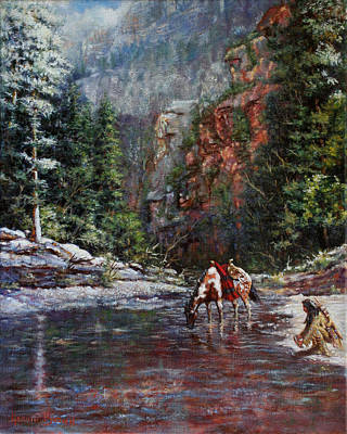 Indian Pony Painting - A Prospector's Pan by Harvie Brown