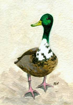 Art Print featuring the painting A Proud Duck by Jingfen Hwu