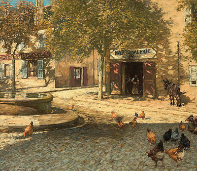 Rooster Painting - A Provencal Forge by Henry Herbert La Thangue