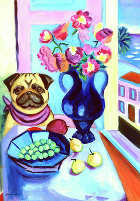 A Pug's Dinner At Henri's - Pug Art Print by Lyn Cook