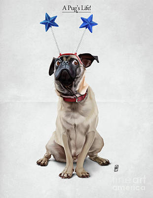 Digital Art - A Pug's Life by Rob Snow