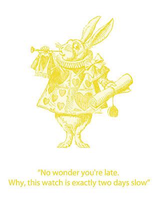 Book Illustrations Digital Art - A Punctual Rabbit by Georgia Fowler