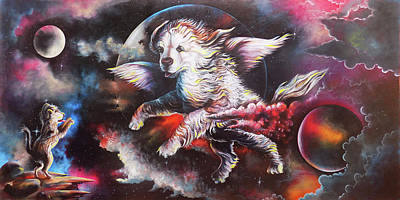 Pet Care Drawing - A Puppy's Dream Of Angel by Arun Sivaprasad