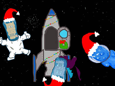 A Puppydragon Christmas In Space Art Print by Jera Sky