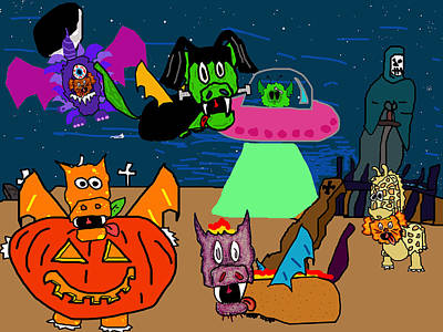 Puppy Digital Art - A Puppydragon Halloween by Jera Sky