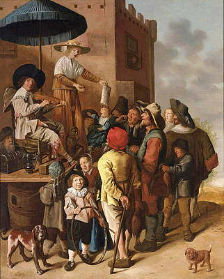 Jan Miense Molenaer Painting - A Quack And His Assistant Advertising Their Wares In A Village by Jan Miense Molenaer