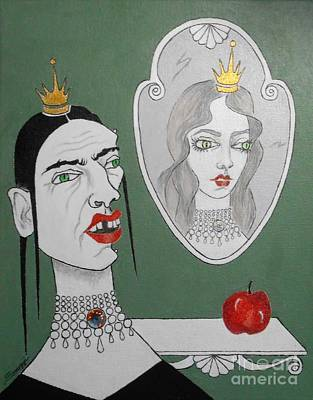 Mixed Media - A Queen, Her Mirror And An Apple by Jayne Somogy