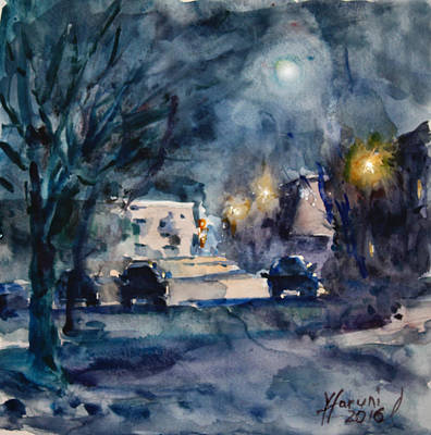 Winter Night Painting - A Quiet Cold Night Under The Moon by Ylli Haruni