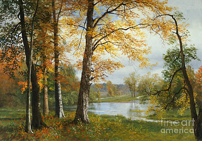 Autumn Leaf On Water Painting - A Quiet Lake by Albert Bierstadt
