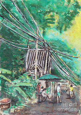 Bangkok Painting - A Quiet Lane In A Busy City, Bangkok by Gordon Tardio