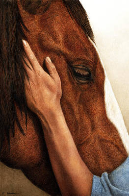 Horse Watercolor Painting - A Quiet Moment by Pat Erickson